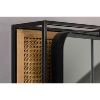 Miroir métal et rotin Langres - Miroir en verre sur le dos en MDF Panneau en maille de rotin naturel