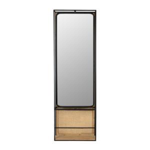 Miroir métal noir et rotin Langres