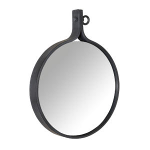 Miroir rond en métal noir Attractif