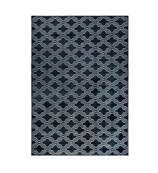 Tapis imprimé géométrique Feike Bleu foncé